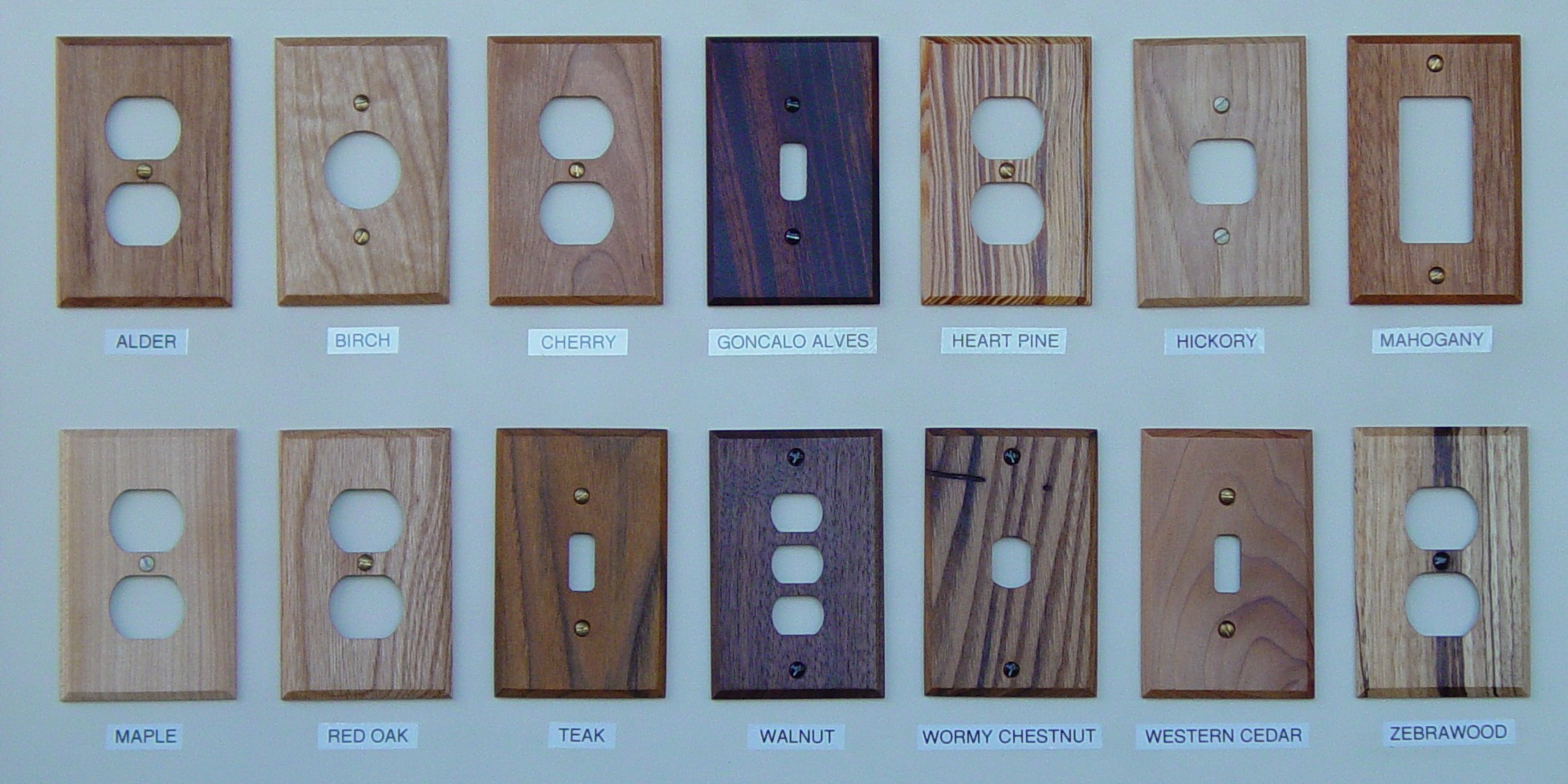 Custom Made Wood Wallplate Covers